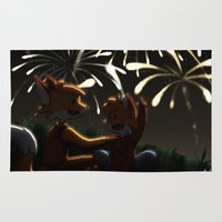 fireworks Area & Throw Rugs featuring Fireworks! by Pencil Box Illustration