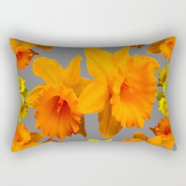 YELLOW-GOLD SPRING DAFFODILS & CHARCOAL GREY COLOR Rectangular Pillow