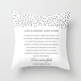 1 Corinthians 13:8 - Love Never Fails - Marriage Bible Wedding Verse Art Print Throw Pillow