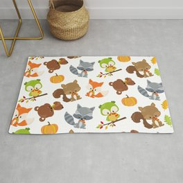 Woodland Animals, Bear, Squirrel, Fox, Owl, Raccoon Rug