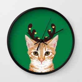 Tabby Cat Reindeer costume christmas holiday winter cat clothes cute cat lady gift idea for holidays Wall Clock