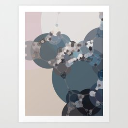 rihanna - abstract shades of blue pewter grey linen beige and pink Art Print