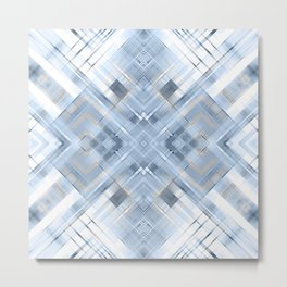 Blue geometric pattern on white background . Metal Print