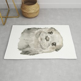 Otter Face Watercolor Painting Rug