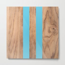 Wood Grain Stripes Light Blue #807 Metal Print
