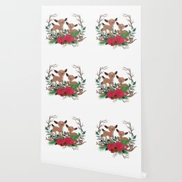 Little Deers With Roses Hand Drawn Illustration Wallpaper