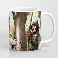 robin hood Mugs featuring Robin Hood and his Merry Women by Eco Comics