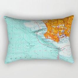 Long Beach colorful old map Rectangular Pillow