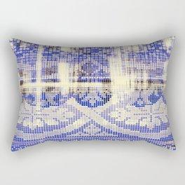needlepoint sampler in blues Rectangular Pillow