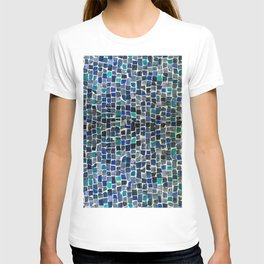 Blue and green tiles T-shirt