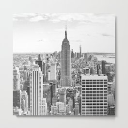 New York City, Manhattan (Black & White) Metal Print