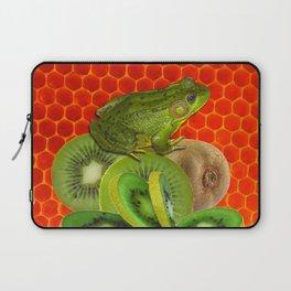 GREEN FROG & KIWI FRUIT PATTERNED RED ART Laptop Sleeve