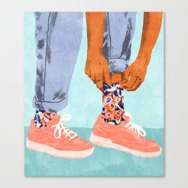 Pull Up Those Pretty Socks! #painting #illustration Canvas Print