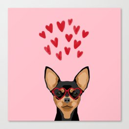 Chihuahua black and tan valentines day love hearts dog breed gifts cute chiwawa glasses Canvas Print