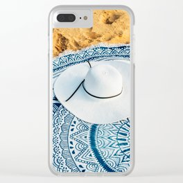 Travel Photography, White Beach Hat, Summer Vacation, Holiday Time, Beauty Accessories Clear iPhone Case