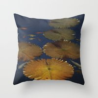 amy pond Throw Pillows featuring Koi Pond by TaLins