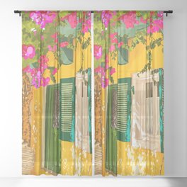 Living in the Sunshine. Always, Travel Sunny Summer Architecture Greece Spain Building Illustration Sheer Curtain