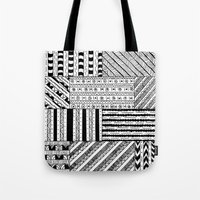 black white Tote Bags featuring Black&White White&Black by Kaitlyn_Michelle_