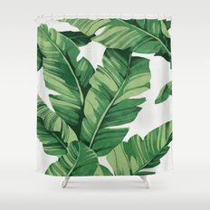 Tropical banana leaves Shower Curtain