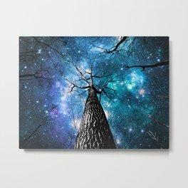 Wintry Trees Galaxy Skies Teal Blue Violet Metal Print
