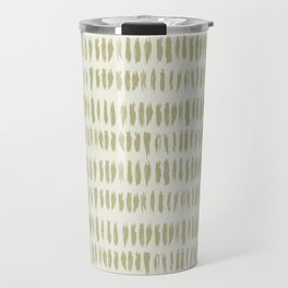 Earthy Green on Cream Parable to 2020 Color of the Year Back to Nature Bold Grunge Vertical Stripes Travel Mug