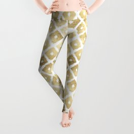 Modern chic faux gold leaf ikat pattern Leggings
