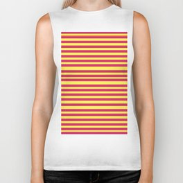 Stipes Yellow Pink Biker Tank