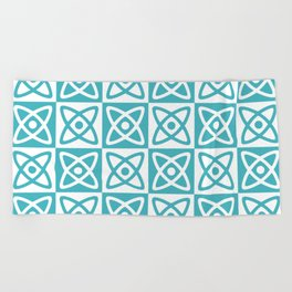 Mid Century Modern Atomic Check 140 Turquoise Beach Towel