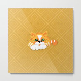 Cute Fluffy Ginger and white cat Metal Print