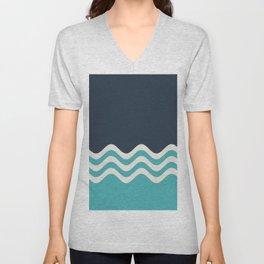 Aqua, Alabaster and Navy Blue Wavy Horizontal Stripes Line Minimal Pattern - Aquarium SW 6767 Unisex V-Neck