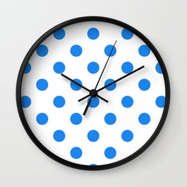 Polka Dots - Dodger Blue on White Wall Clock
