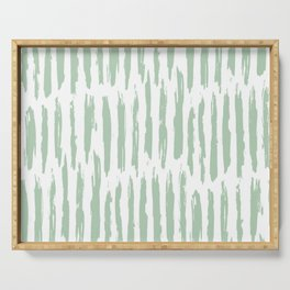 Vertical Dash Stripes Pastel Cactus Green on White Serving Tray