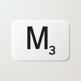 Letter M - Custom Scrabble Letter Tile Art - Scrabble M Initial Bath Mat