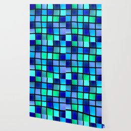 Blue and Green Tiles Wallpaper