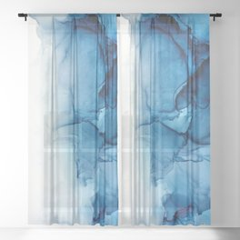 Blue Tides - Alcohol Ink Painting Sheer Curtain