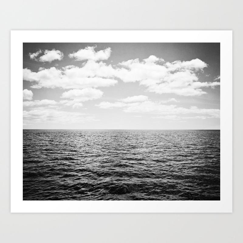Black and white ocean landscape photography neutral grey seascape clouds horizon sea beach art print