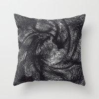 furry Throw Pillows featuring furry swirl by Matthias Hennig