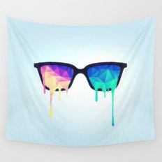 Psychedelic Nerd Glasses with Melting LSD/Trippy Color Triangles Wall Tapestry