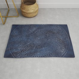 Vintage Circle of Life Mandala full color on blue swirl Distressed Rug