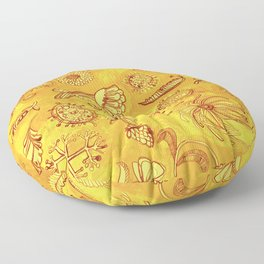 Botanicals in Mustard Yellow Floor Pillow