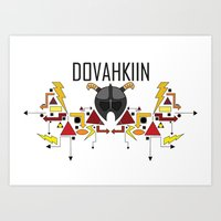 skyrim Art Prints featuring Skyrim: The Dovahkiin - RED (Skyrim) by E_Nicholson