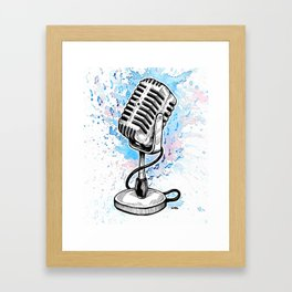 Vintage Microphone (Splash Music) Framed Art Print