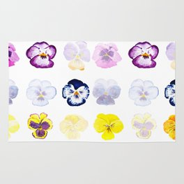 colorful pansies watercolor painting Rug