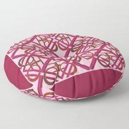 Interlaced Love Mandala Tiled - Wine Rose Floor Pillow