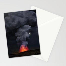 Moon Over Kilauea Volcano at Kalapana Stationery Cards
