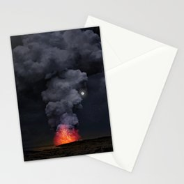 Moon Over Kilauea Volcano at Kalapana Stationery Cards