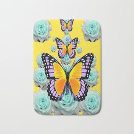 BUTTERFLIES & BLUE ROSES ON YELLOW Bath Mat