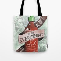 sriracha Tote Bags featuring An Ode To Sriracha by Drunk Girl Designs