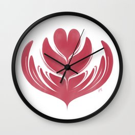 Latte Tulip in Rose Wall Clock