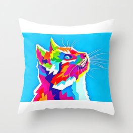 20 Cat Art Illustration Throw Pillow